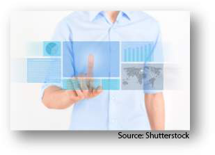 A person interacting via touch with a virtual computer display. Source: Shutterstock
