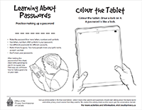 Thumbnail of the Learning about passwords activity sheet, described in the text description that immediately follows.