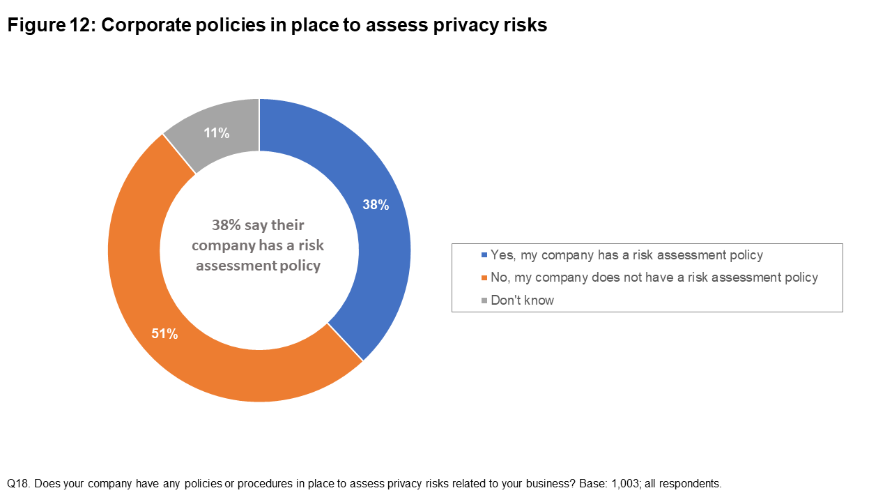 Figure 12: Corporate policies in place to assess privacy risks